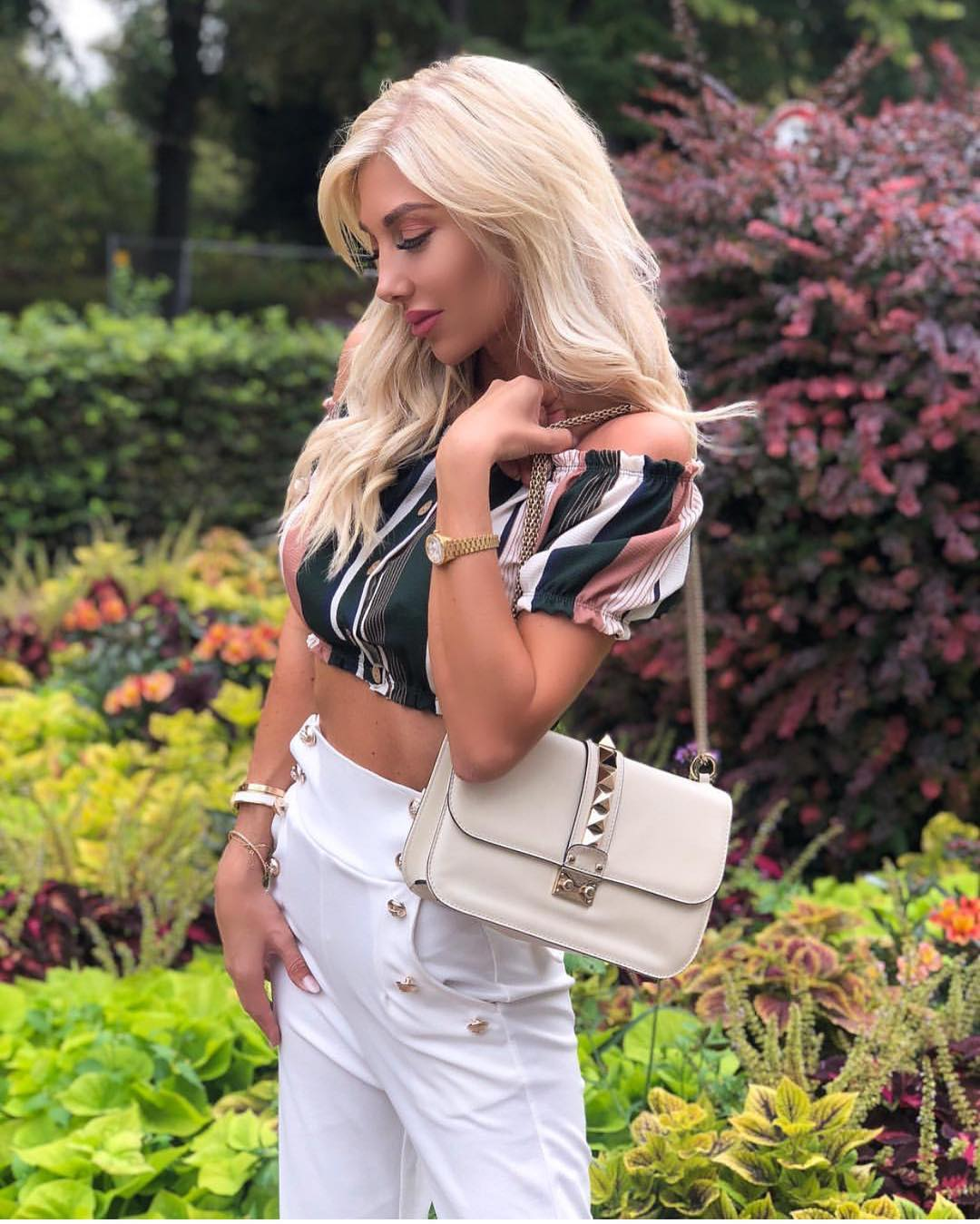 Multistripe Off Shoulder Crop Top And Gold Buttoned White Pants For Summer 2019