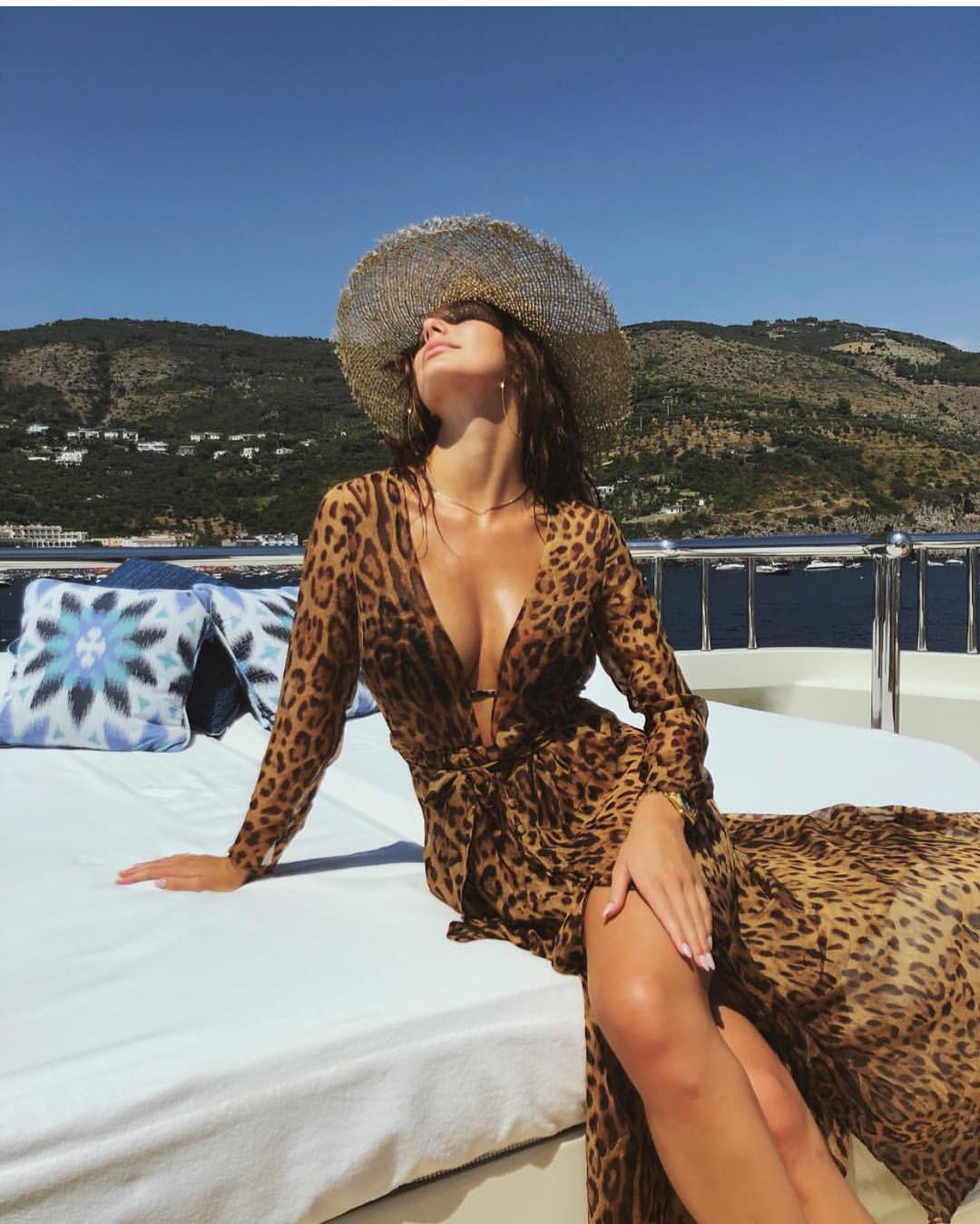 Leopard Print Maxi Dress With Long Sleeves For Summer Boat Trips 2019