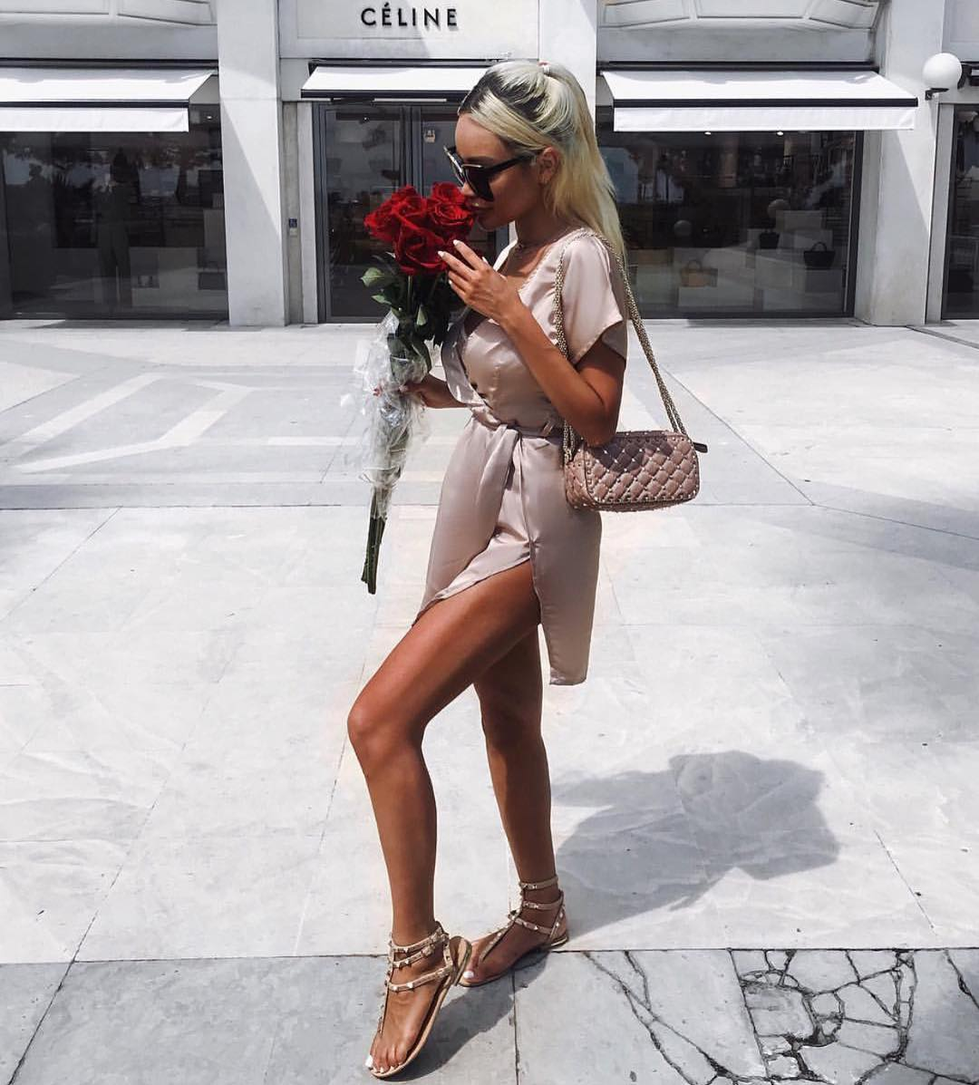 Silk Wrap Dress In Blush For Summer Street Walks 2020