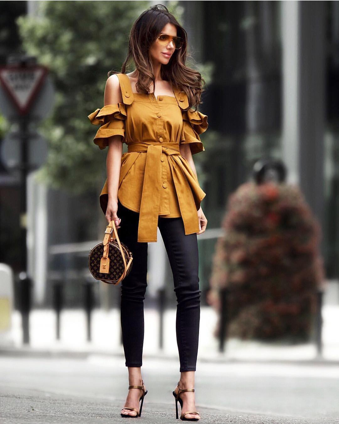 Mustard Brown Safari Style Top And Black Coated Skinnies For Summer 2019