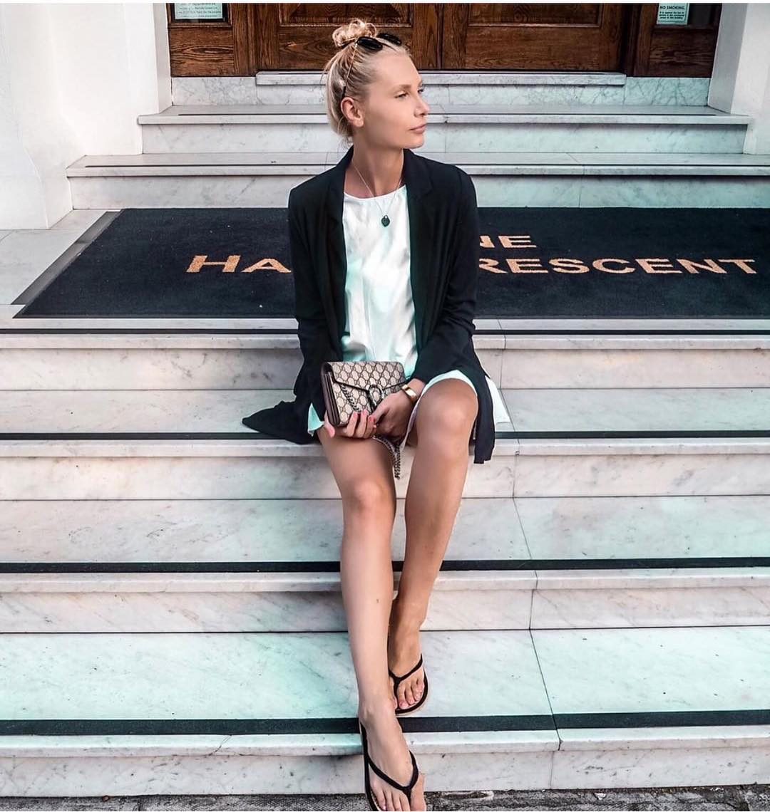 Monochrome Summer Essentials: Black Blazer And White Dress 2019