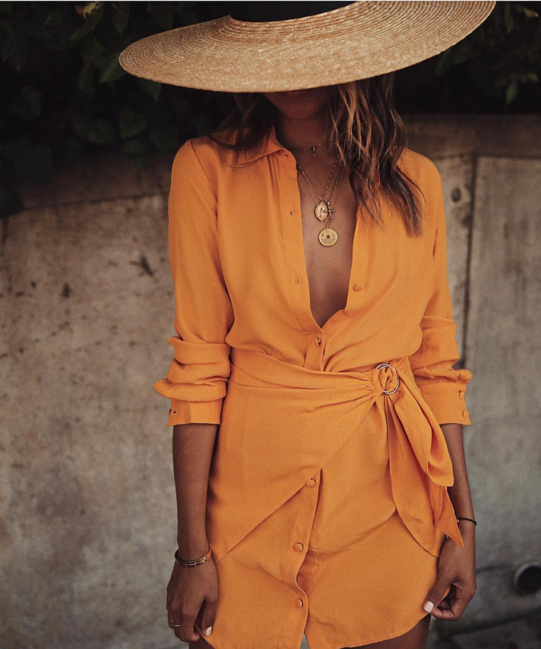Orange ShirtDress With Wrap Detailing For Summer Vacation 2019