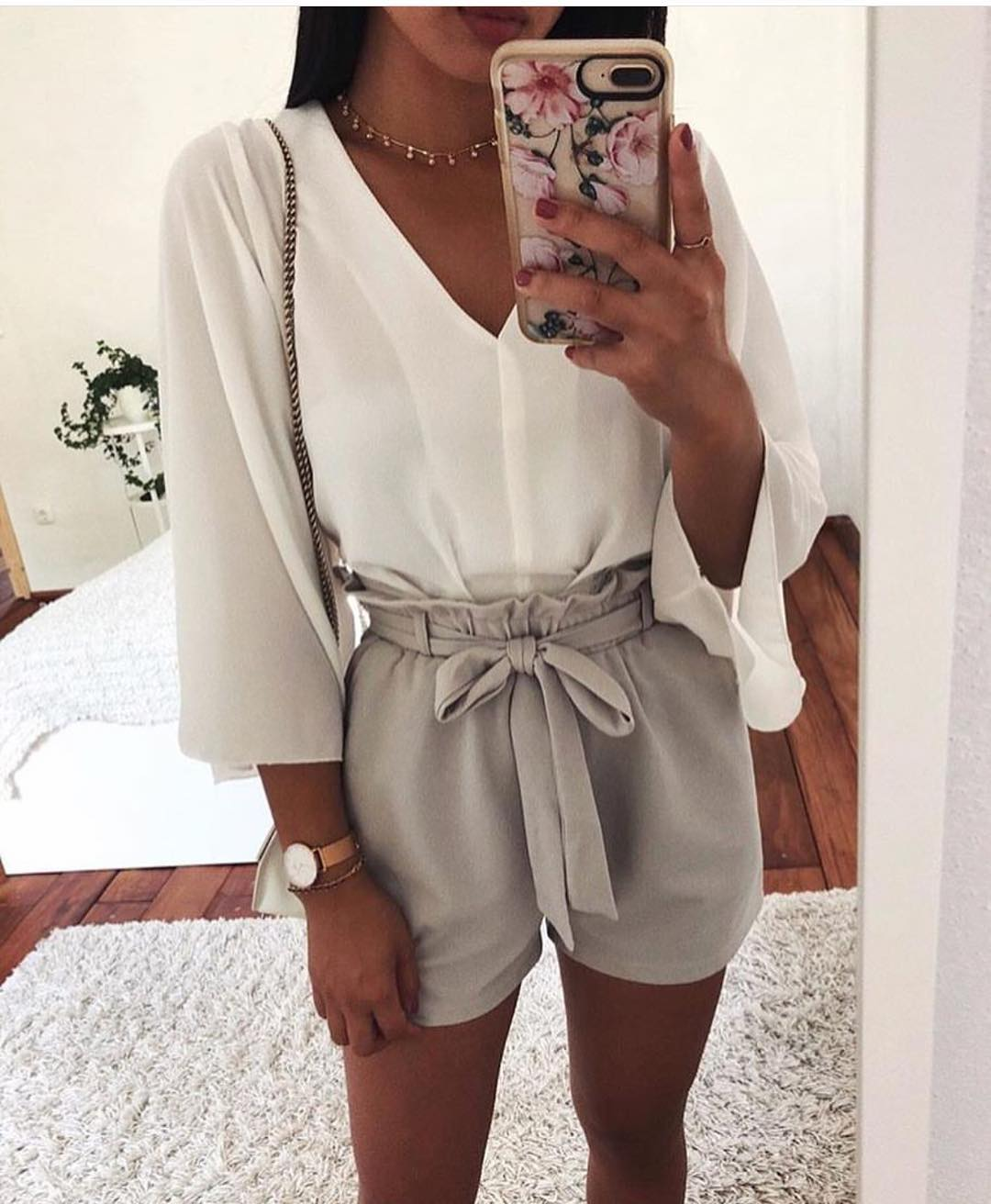 White Collarless V-neck Blouse And Gathered Shorts In Pastel Grey For Summer 2019