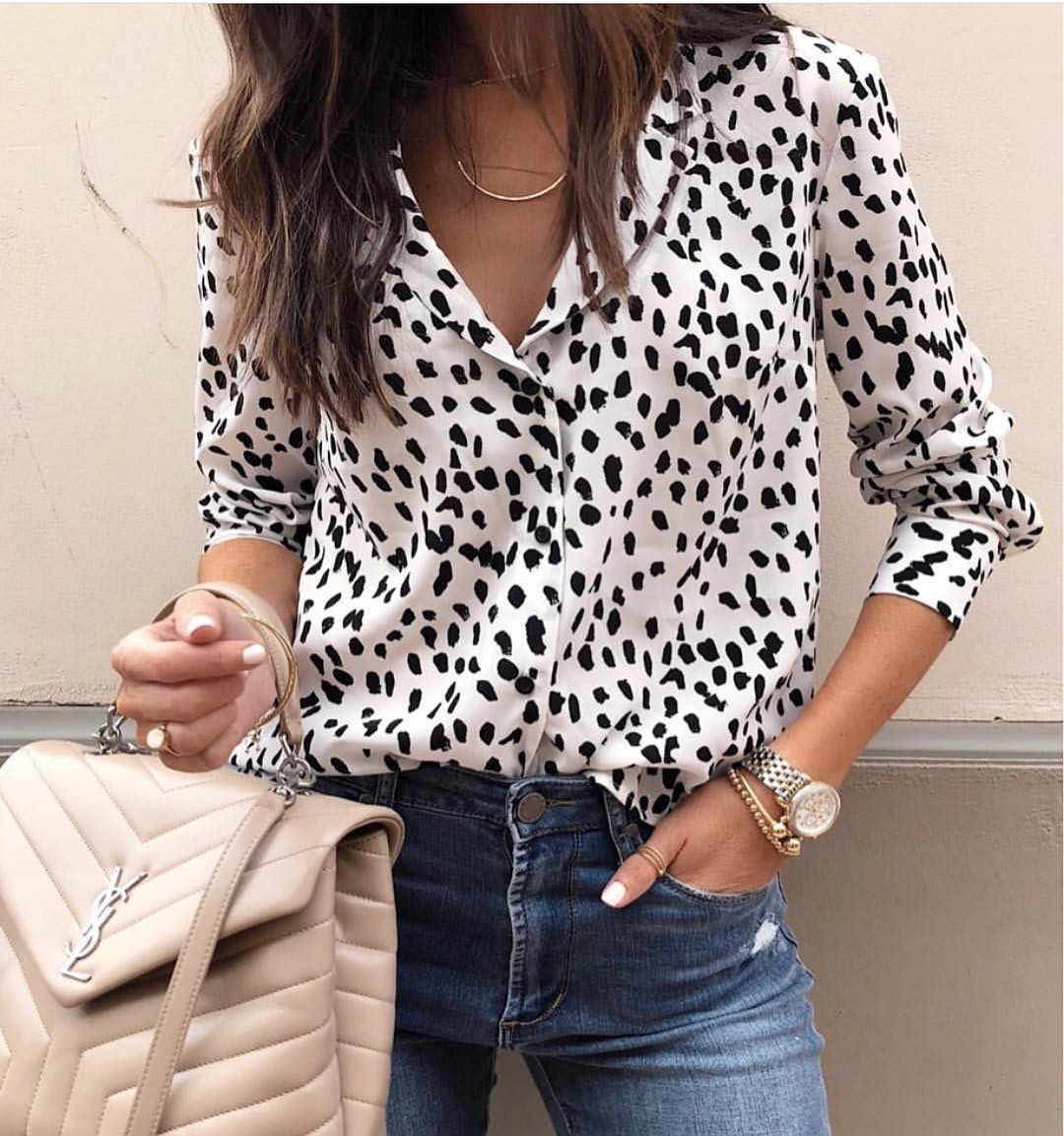 Black Spotted Shirt In White And Classic Jeans For Summer 2019