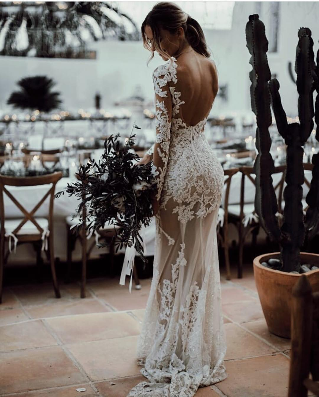 Semi-Sheer White Maxi Bridal Dress With Open Back For Summer Wedding 2019