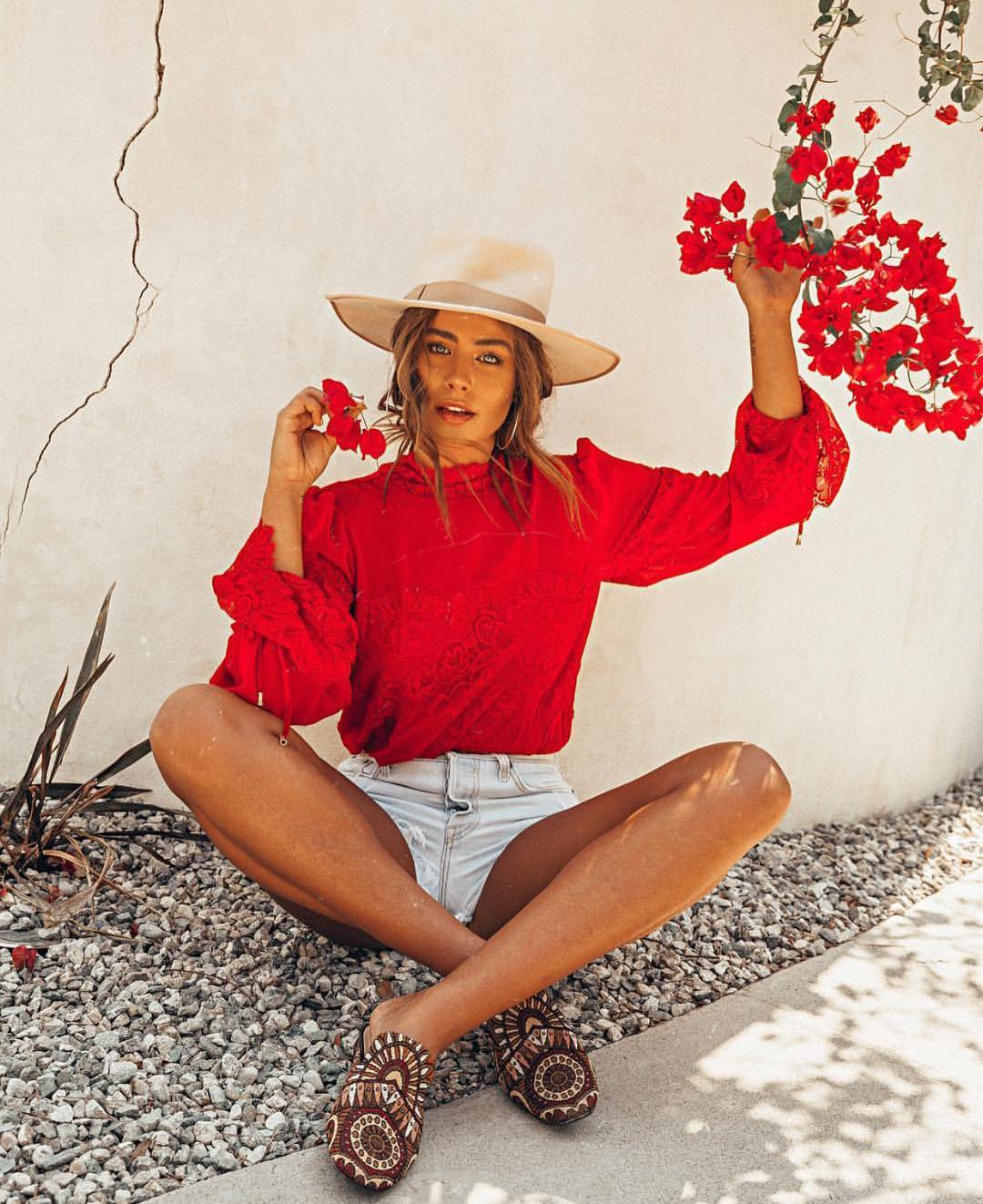 Bright Red Blouse And Wash Denim Shorts For Summer 2019