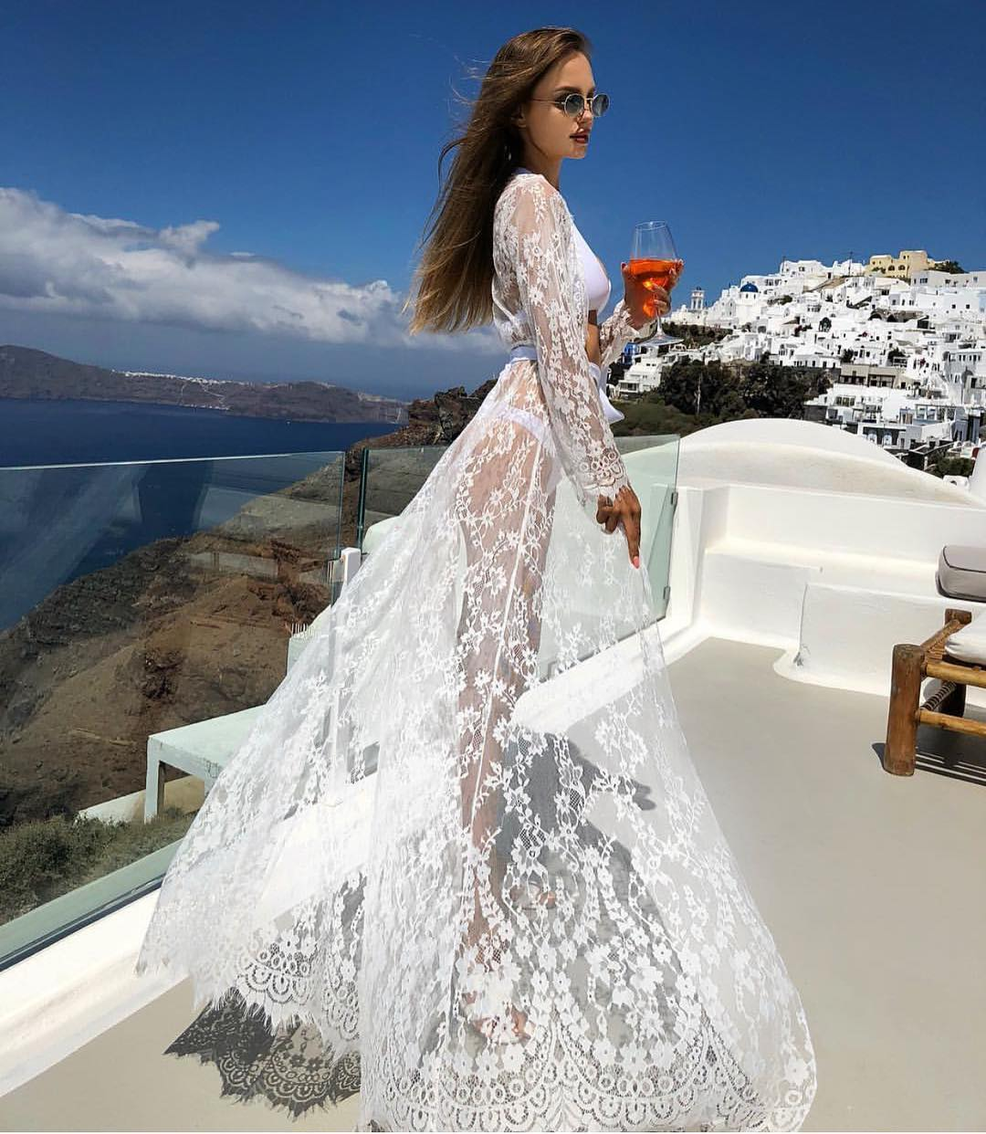 White Maxi Sheer Lace Kimono For Santorini 2020