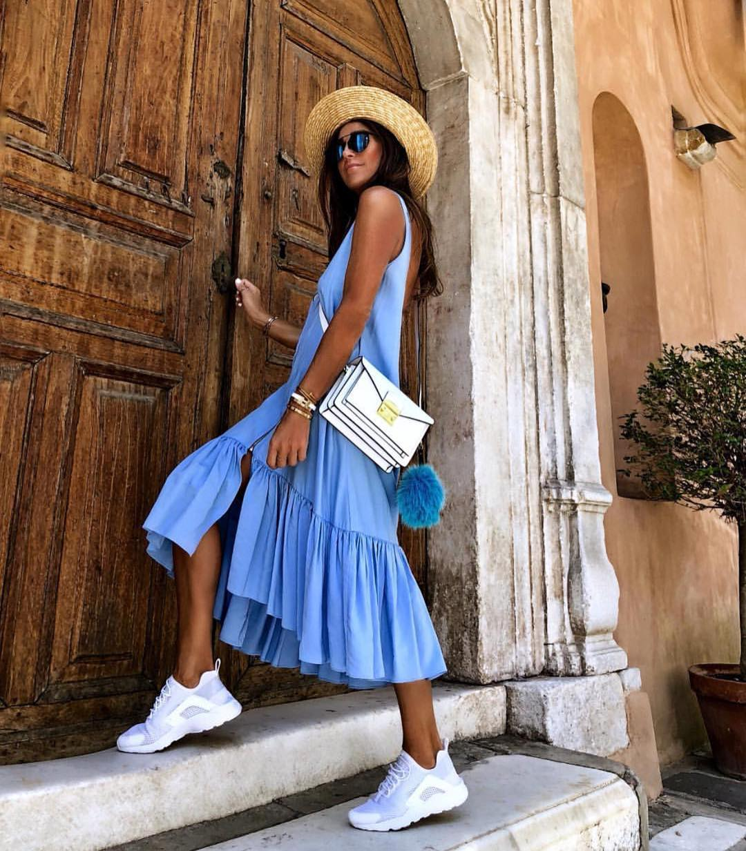 Light Blue Sleeveless Midi Dress With White Sneakers And Straw Wide Brim Hat 2019