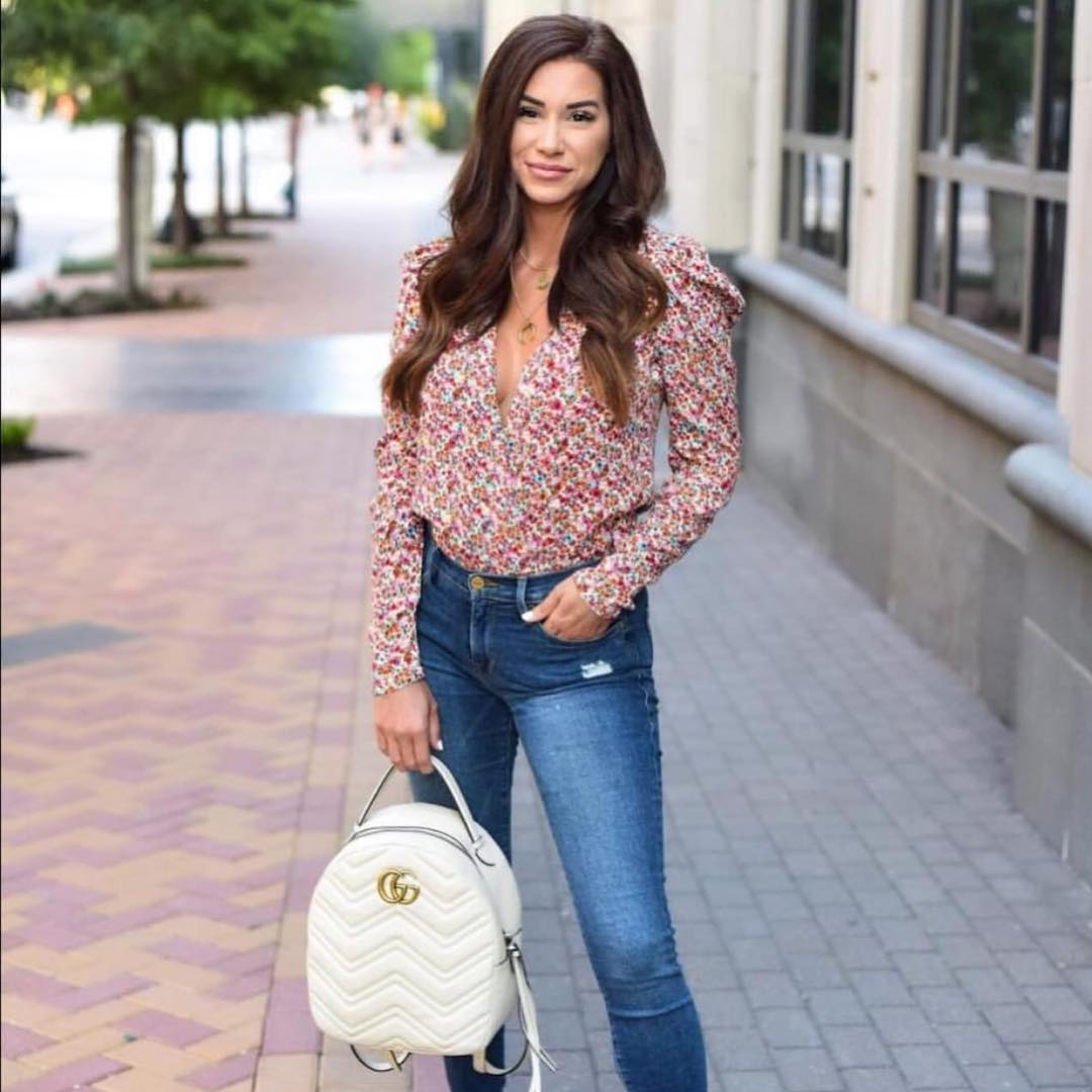 Micro Floral Print Blouse And Skinny Jeans In Blue For Summer 2020