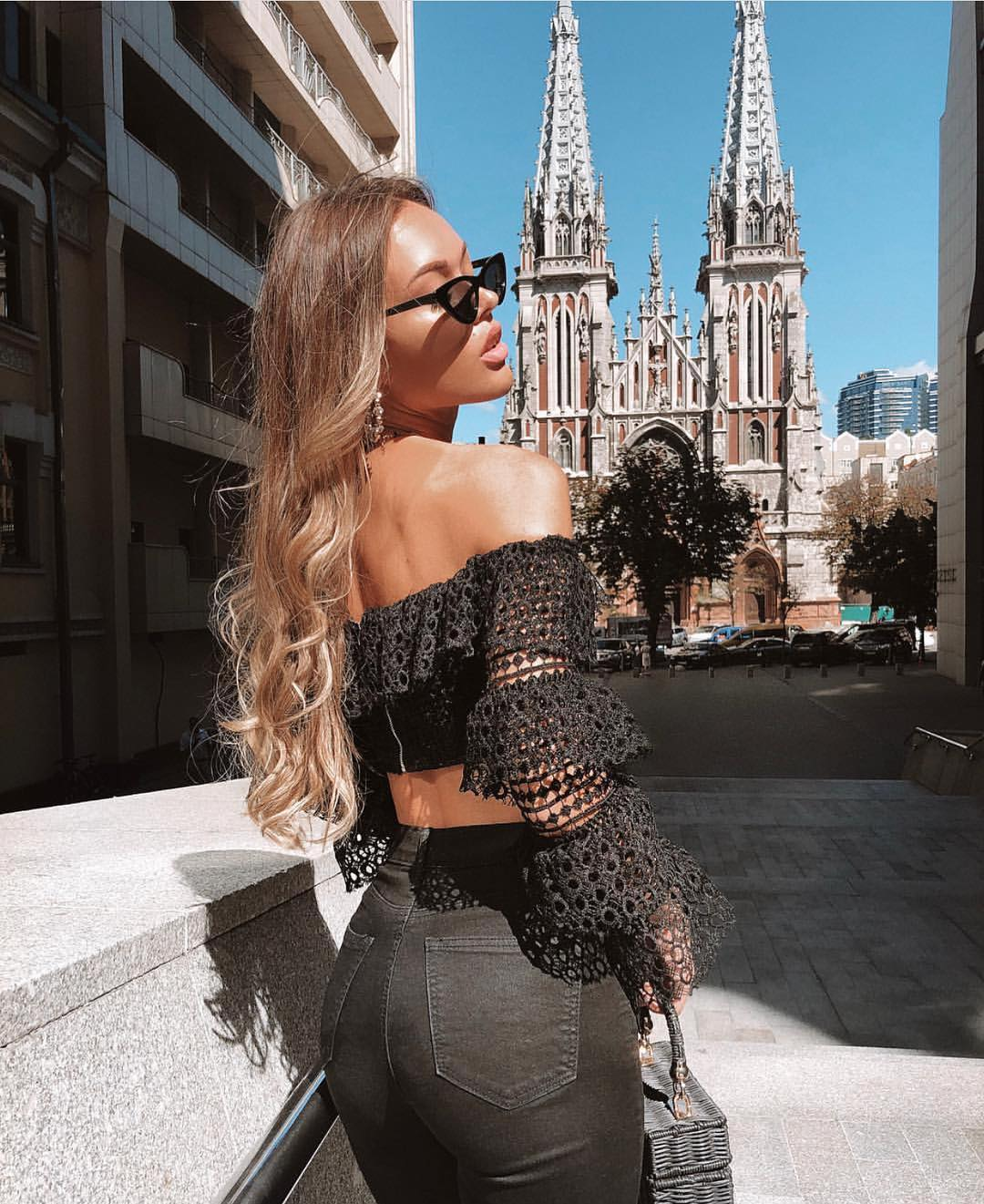 Off Shoulder Crochet Crop Top And Skinny Jeans All In Black For Summer 2019