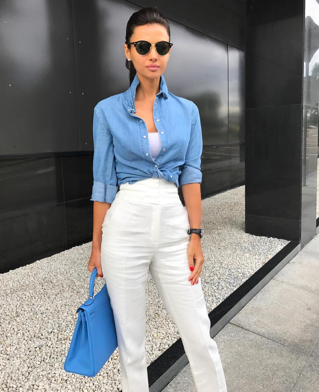 Denim Shirt And White Separates For Summer Office Hours 2019