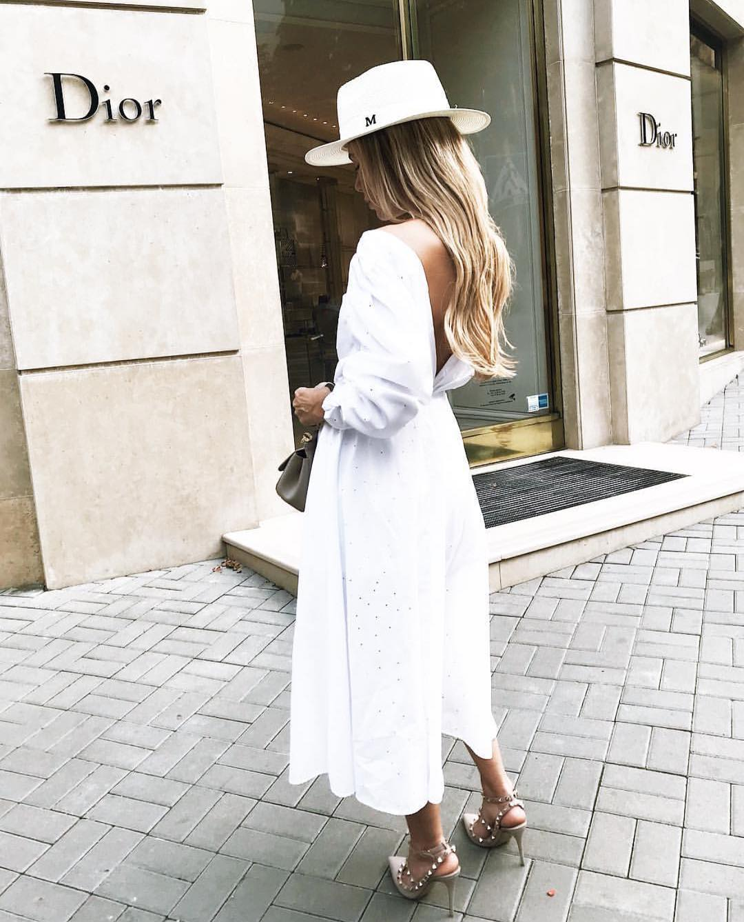 V Open Back White Ankle Length Dress And White Fedora Hat For Summer 2020
