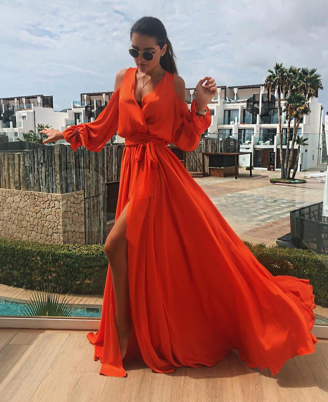 Red Orange Maxi Dress In Silk For Summer Glamour Parties 2019