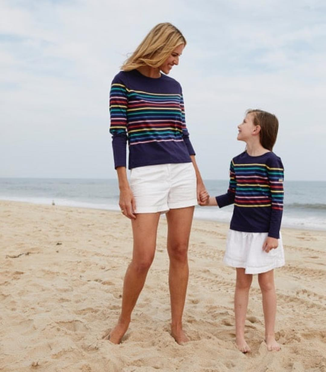Mom Goals: Striped Sweater And White Shorts For Beach Walks 2019