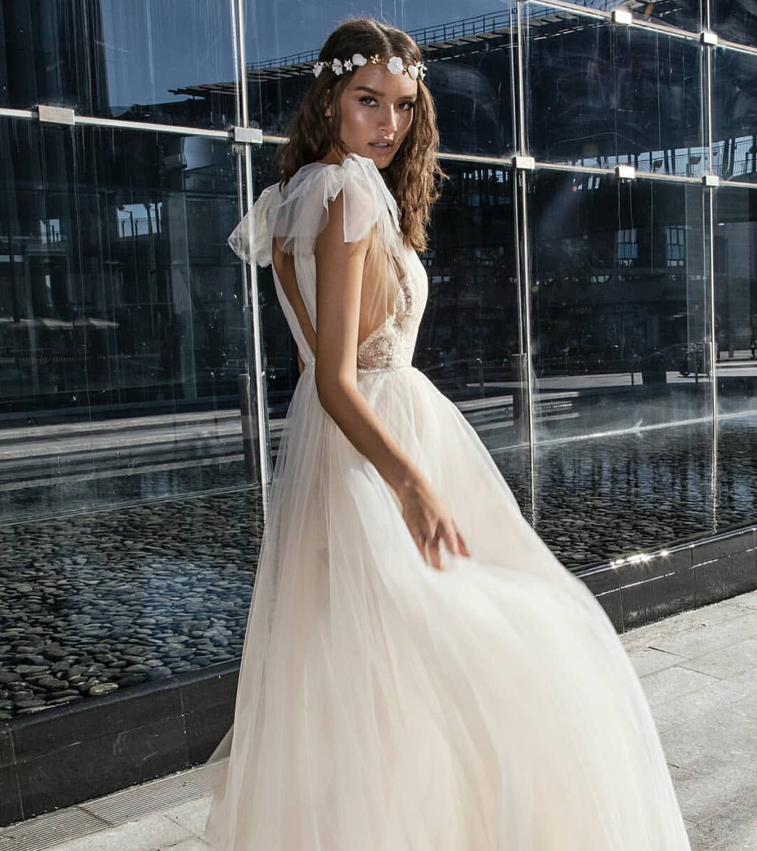 Bohemian Style Wedding Dress In White For Spring 2019