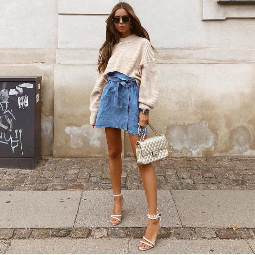 Oversized Crop Sweater And Belted Wrap Denim Skirt For Summer 2019
