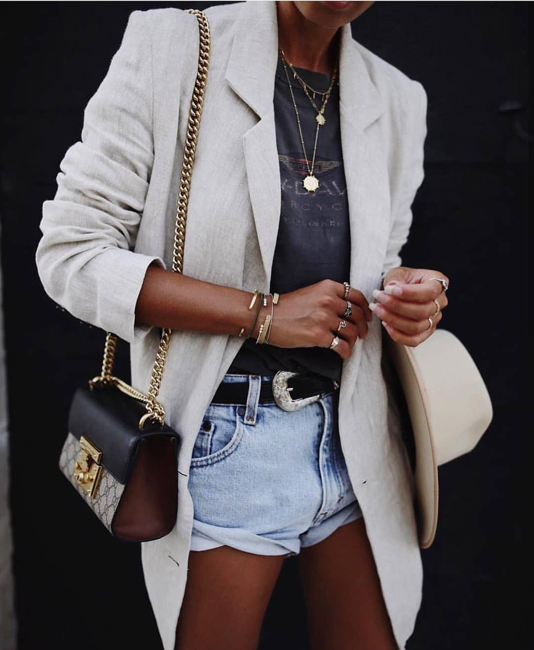 White Linen Blazer And Wash Blue Denim Shorts For Summer 2019