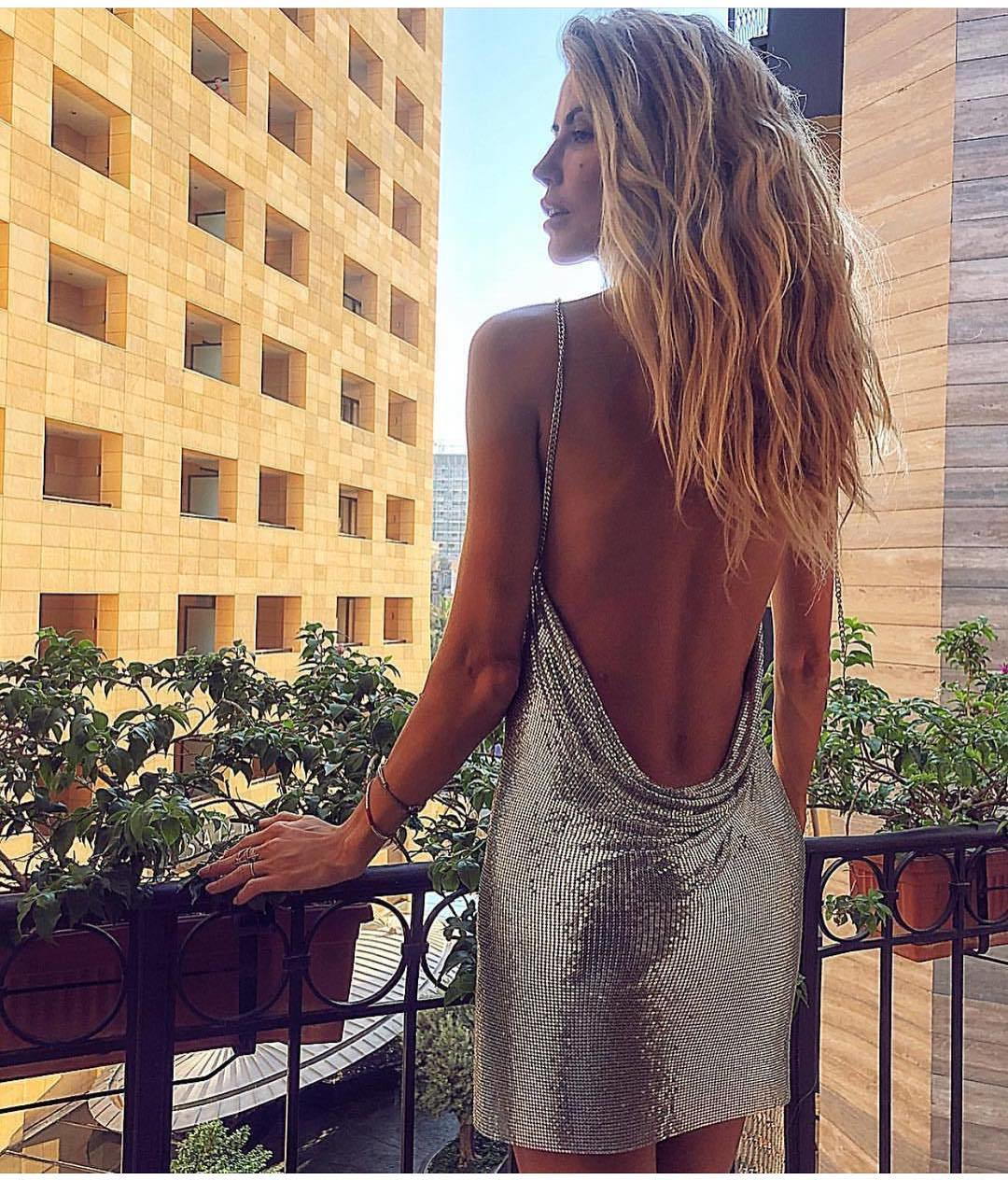 Silver Sequined Dress With Open Back For Christmas Party 2019