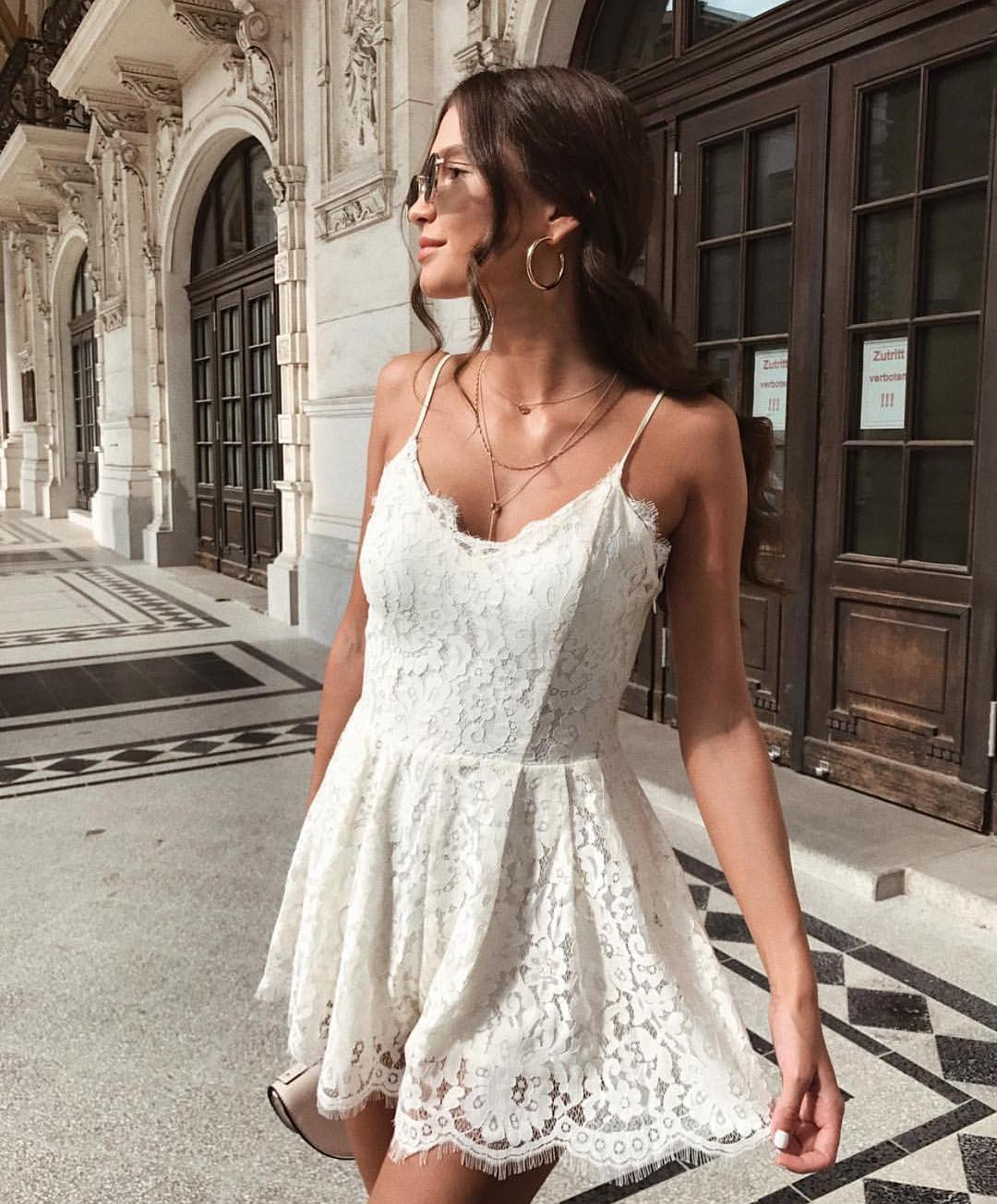 White Lace Dress With Spaghetti Straps For Summer 2020