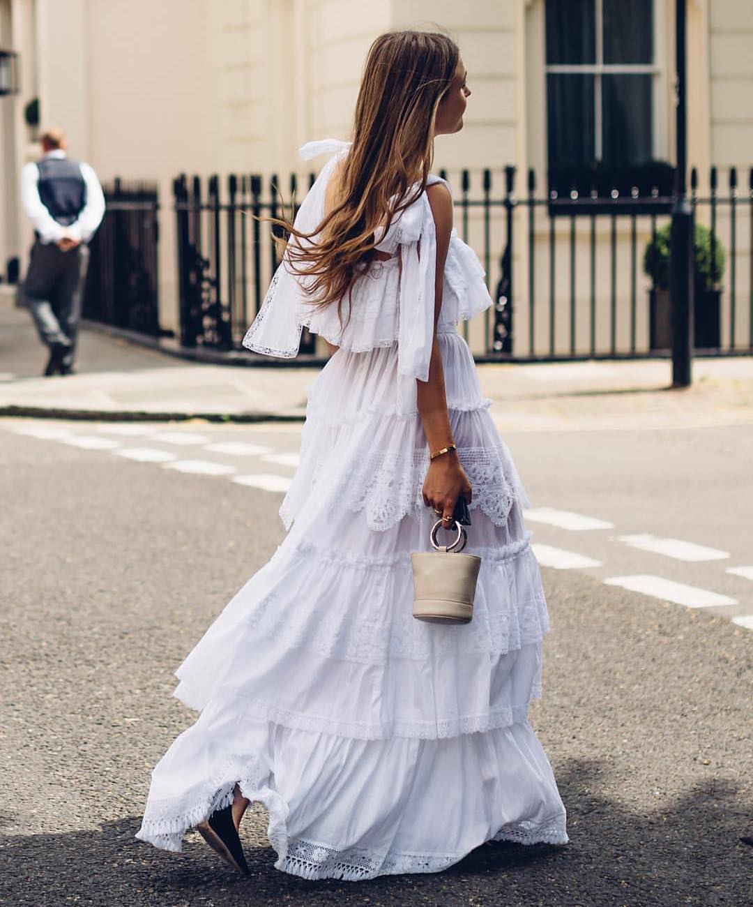 Sleeveless White Ruffled Maxi Dress With Crochet Details For Summer 2019