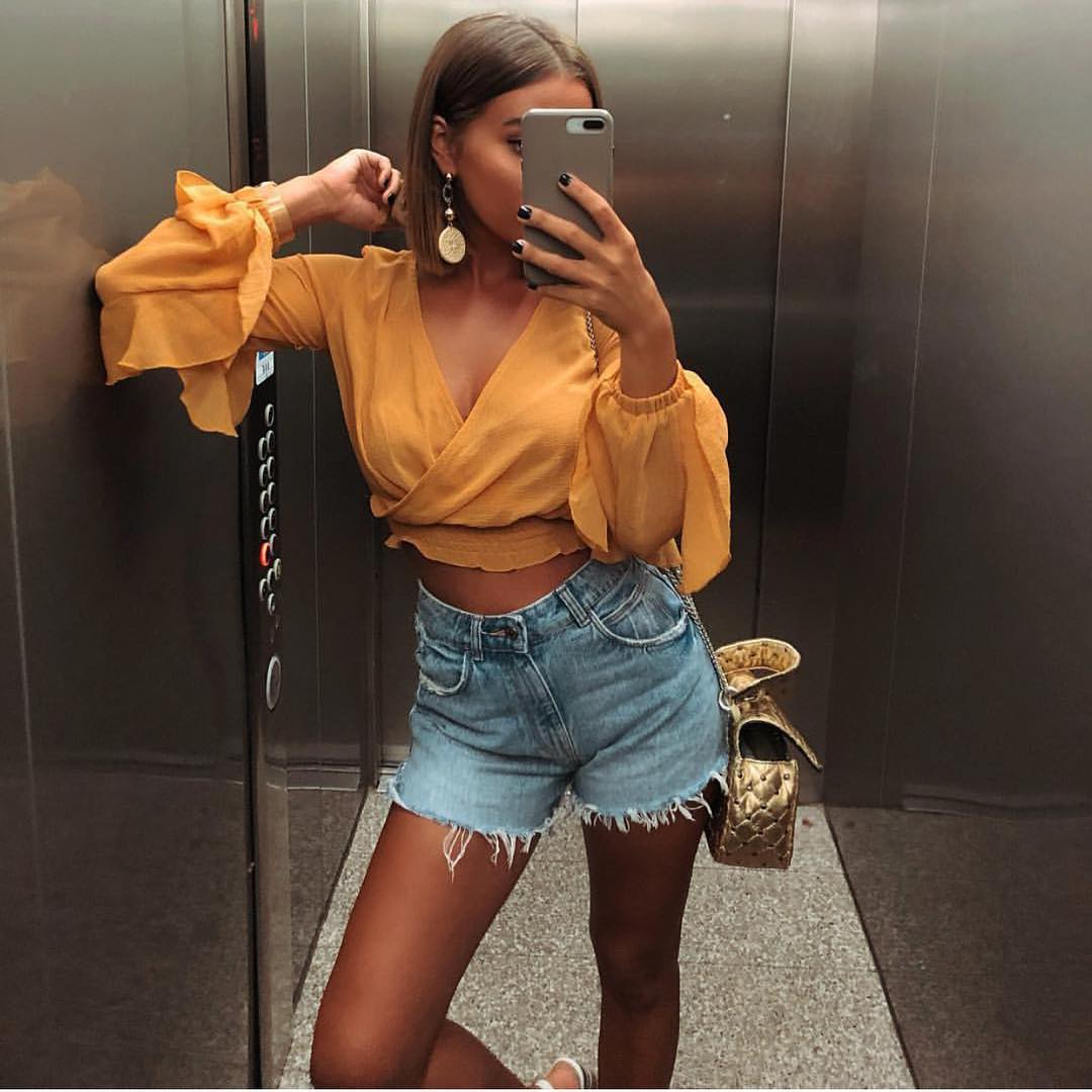 Crop Blouse In Orange And Denim Shorts For Summer 2019