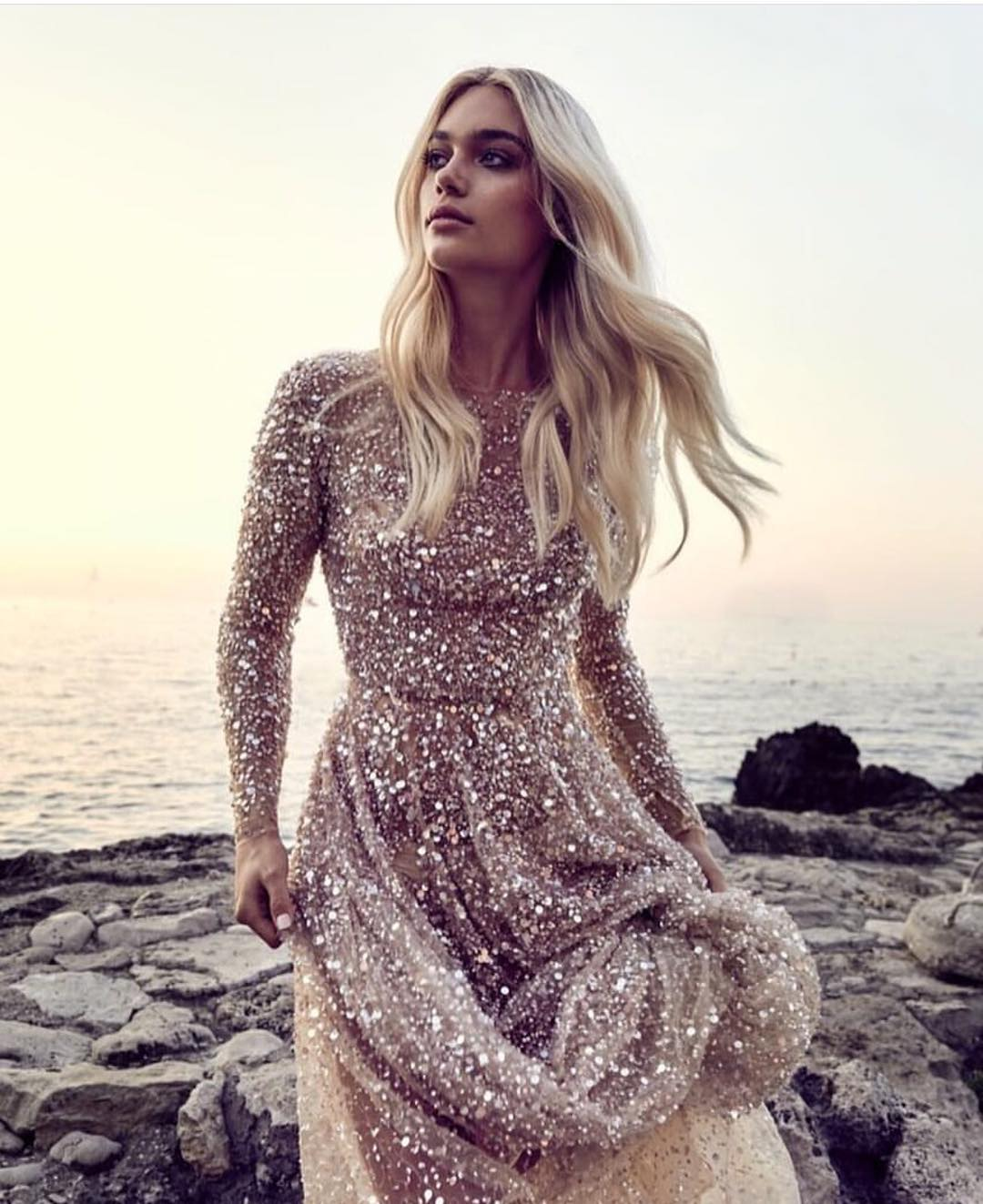 Shiny Sequined Maxi Dress With Long Sleeves 2020