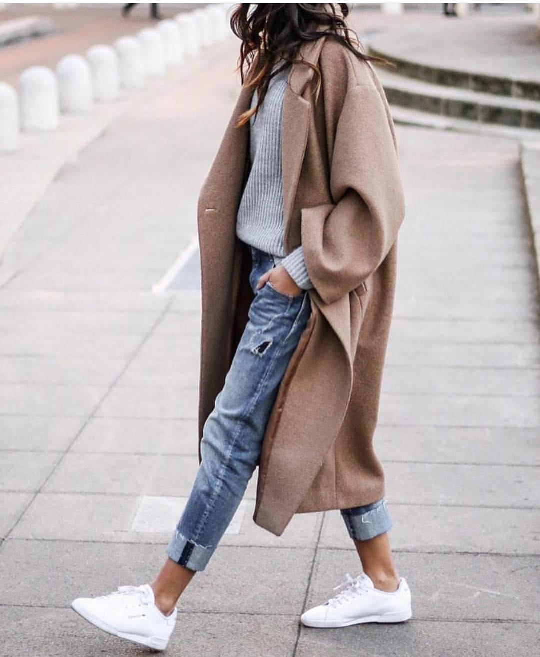 Camel Oversized Coat And Grey Sweater With Cuffed Jeans And White Kicks For Fall 2019