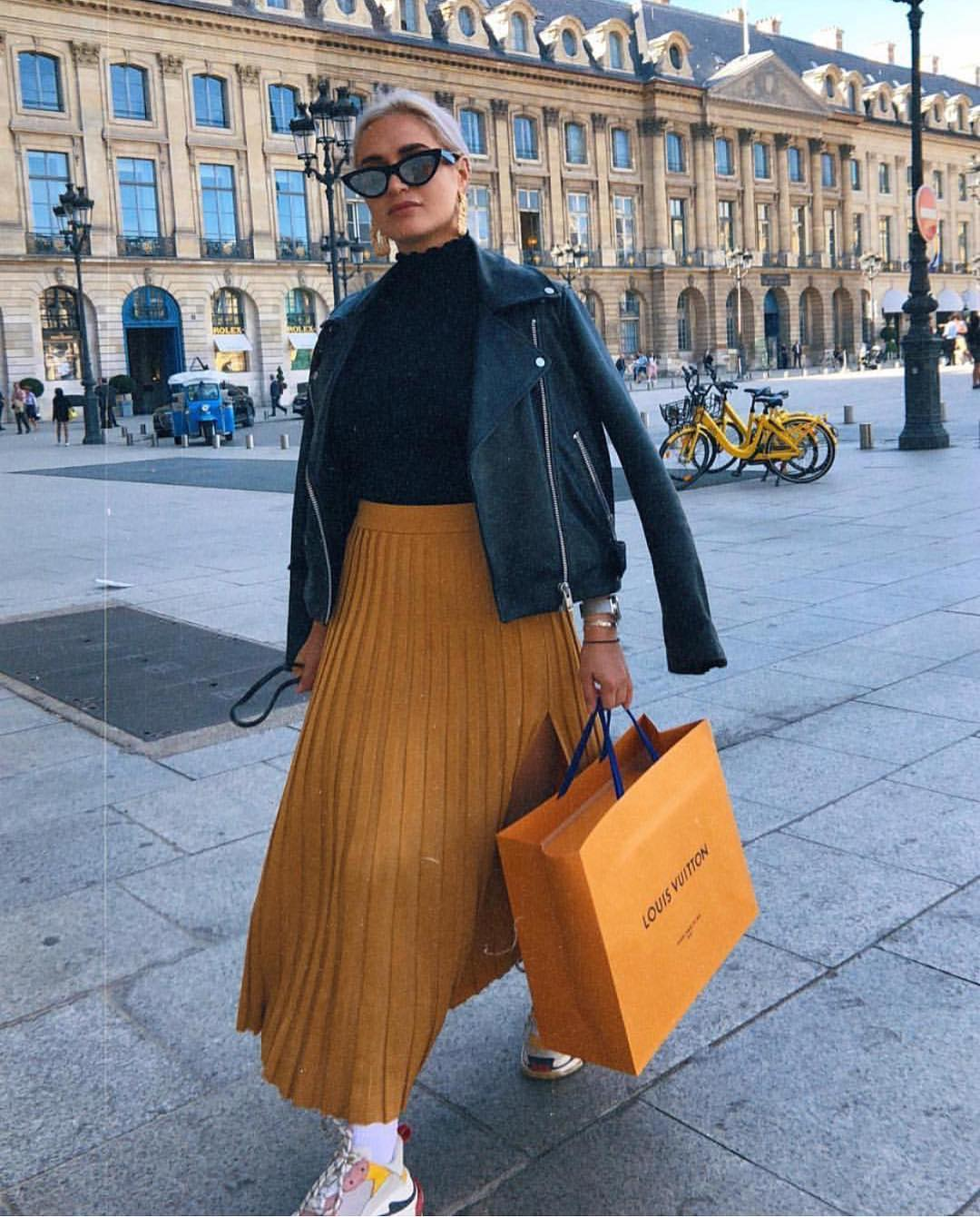 Can I Wear Mustard Knife-PLeated Midi Skirt With Black Leather Jacket This Fall 2020
