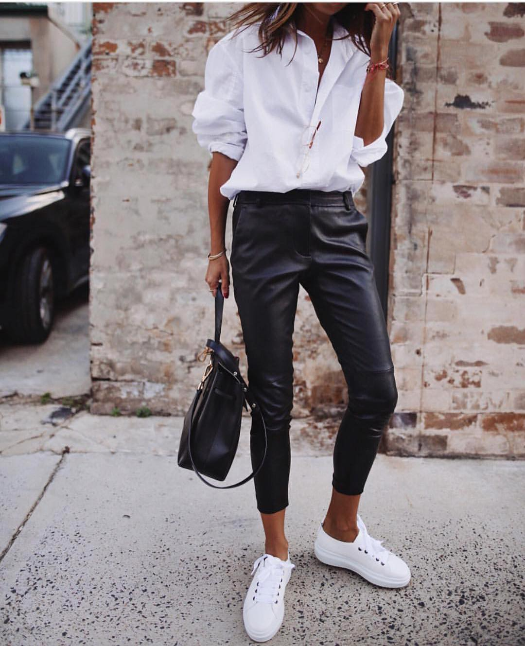 Monochrome Essentials For Spring: White Shirt, Black Leather Pants And White Kicks 2019