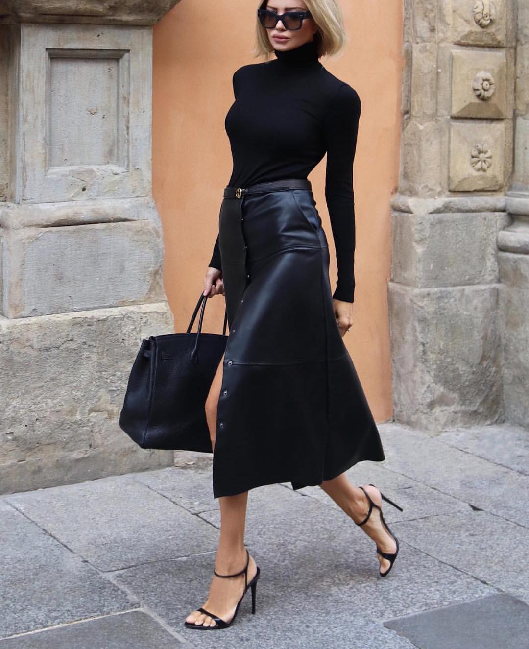 How To Wear Black Leather Midi Skirt This Fall 2020