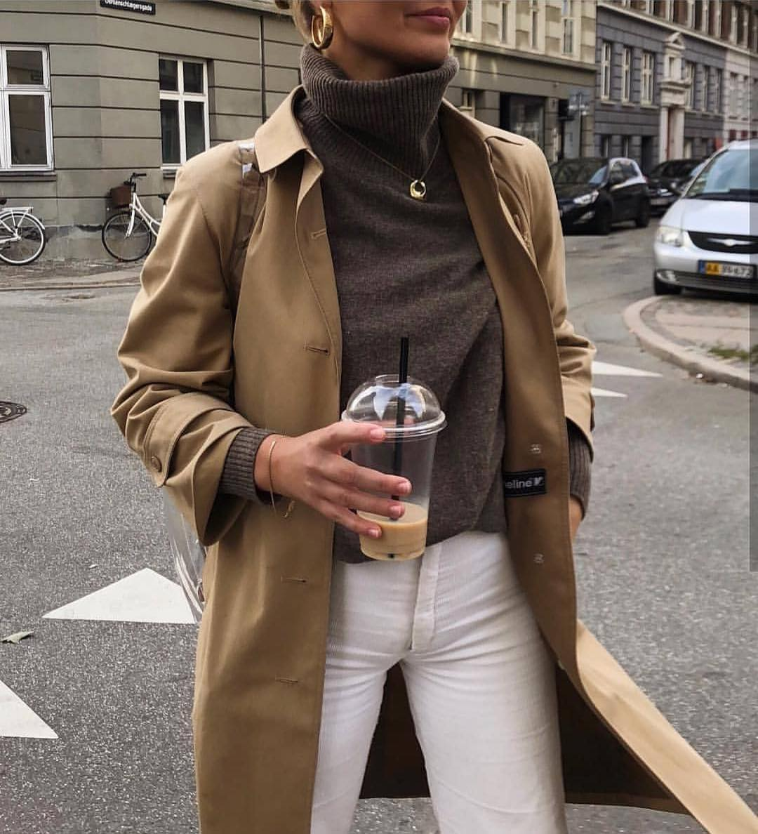 Beige Brown Coat With Grey Turtleneck And White Skinny Jeans 2019