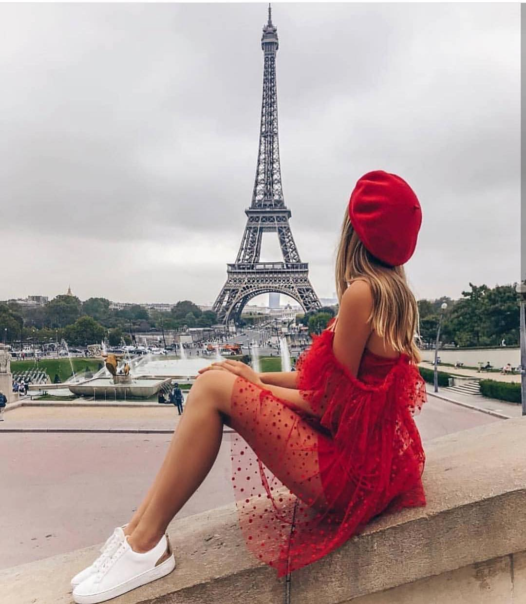 Parisian Chic Red Outfit: Sheer Red Dress, Red Beret And White Sneakers 2019