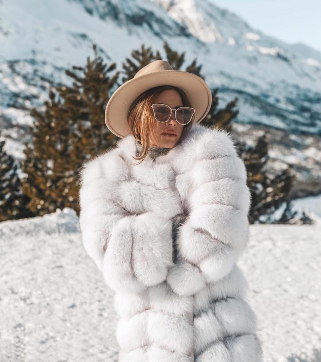 Big White Fur Coat And Fedora Hat For Winter 2019