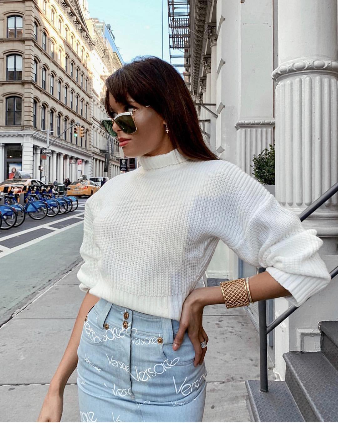 White Sweater And Light Blue Denim Skirt: New York Street Look 2019