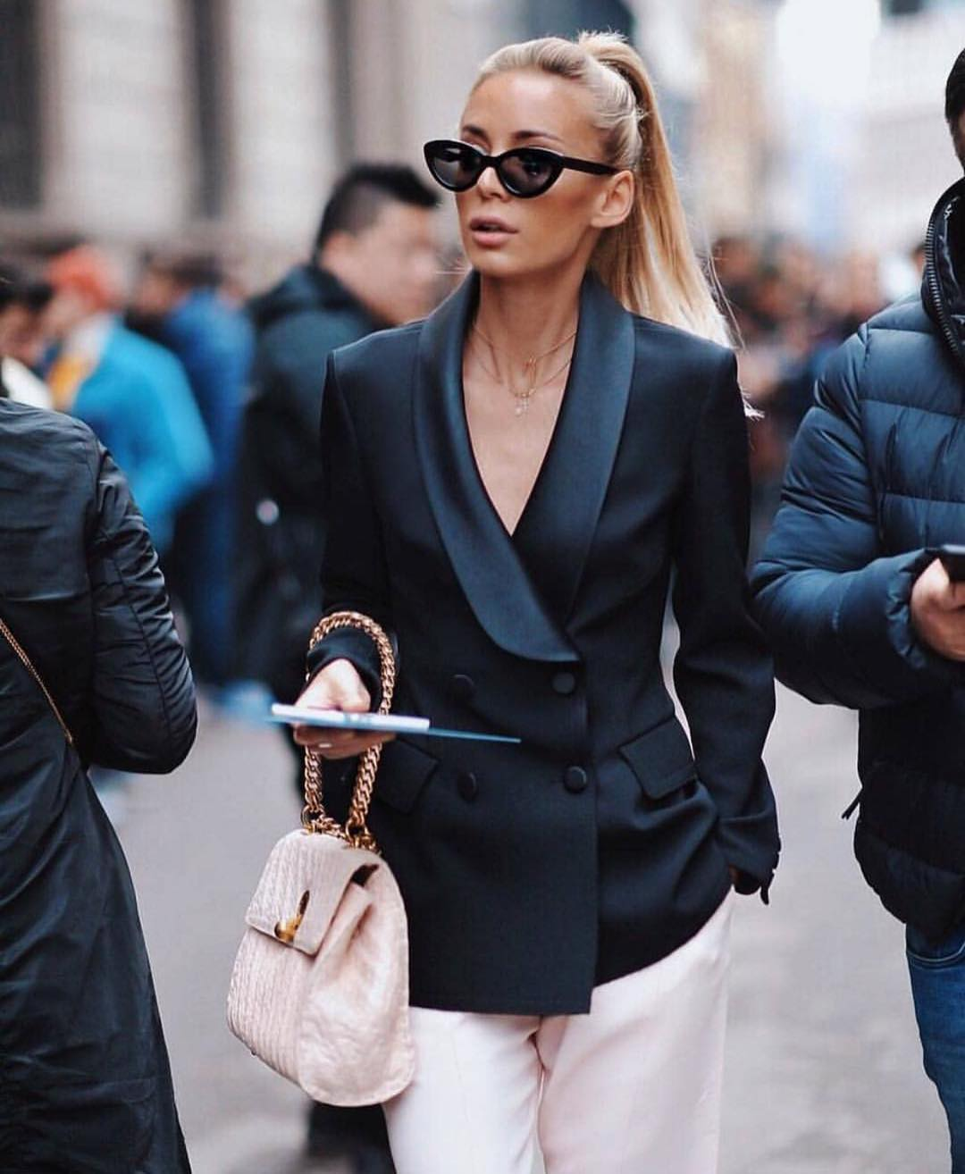 Black Double Breasted Blazer And White Wide Pants For Summer 2019