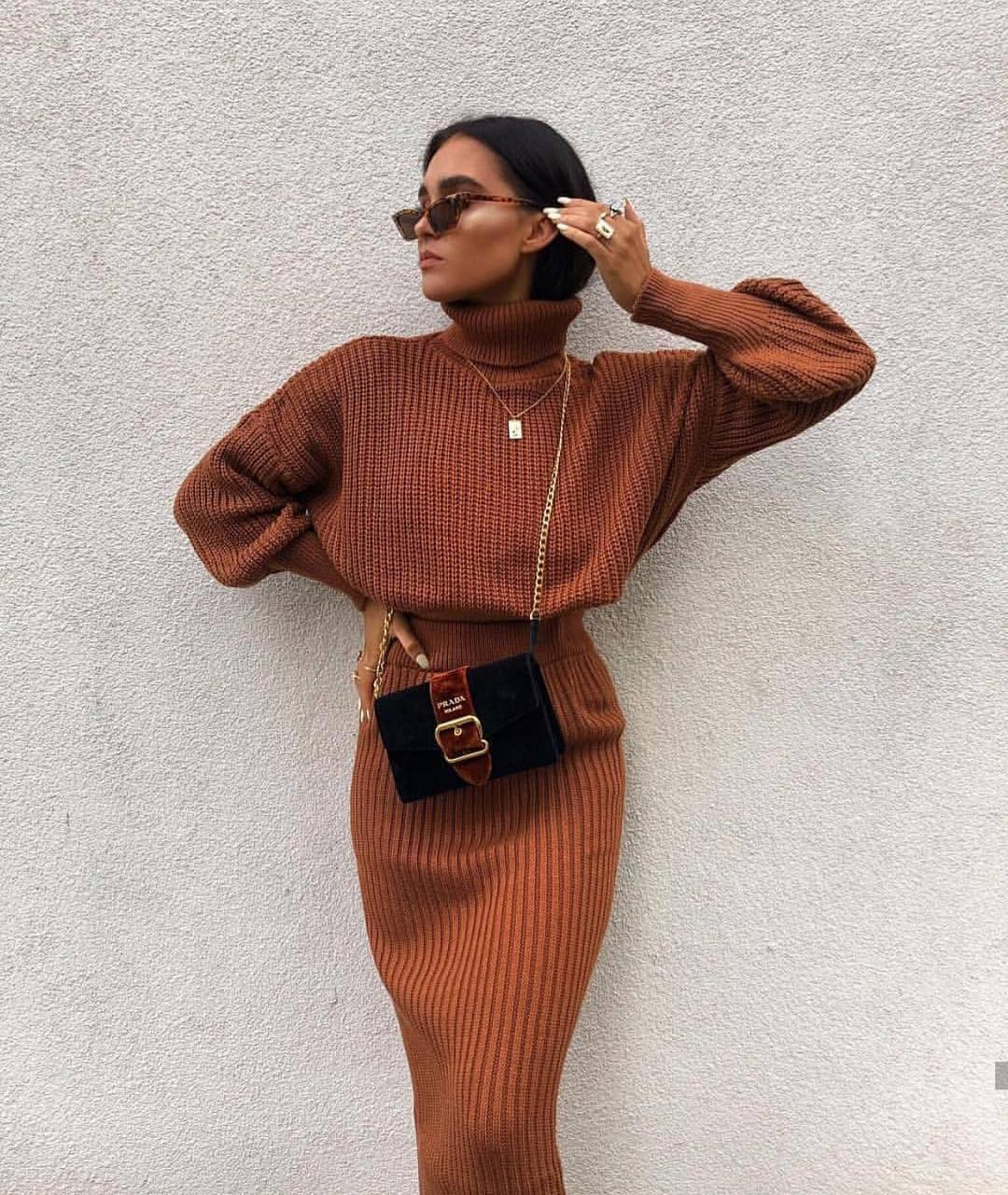 Two Piece Knitted Dress In Maxi Length For Fall 2019