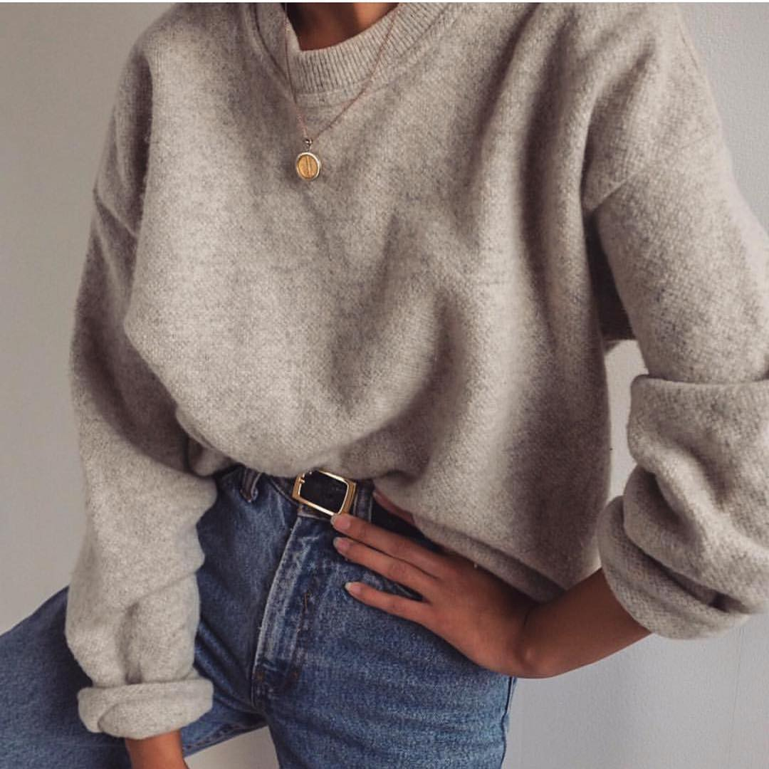 Cream Grey Oversized Wool Sweater And Jeans For Fall 2019
