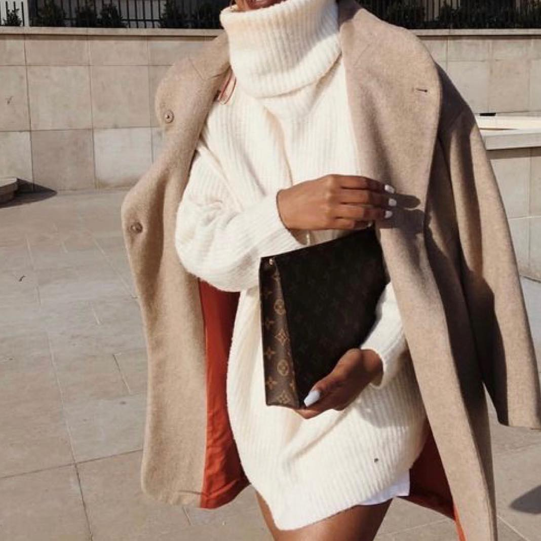 Oversized White Turtleneck Sweater Dress With Camel Coat For Fall 2019