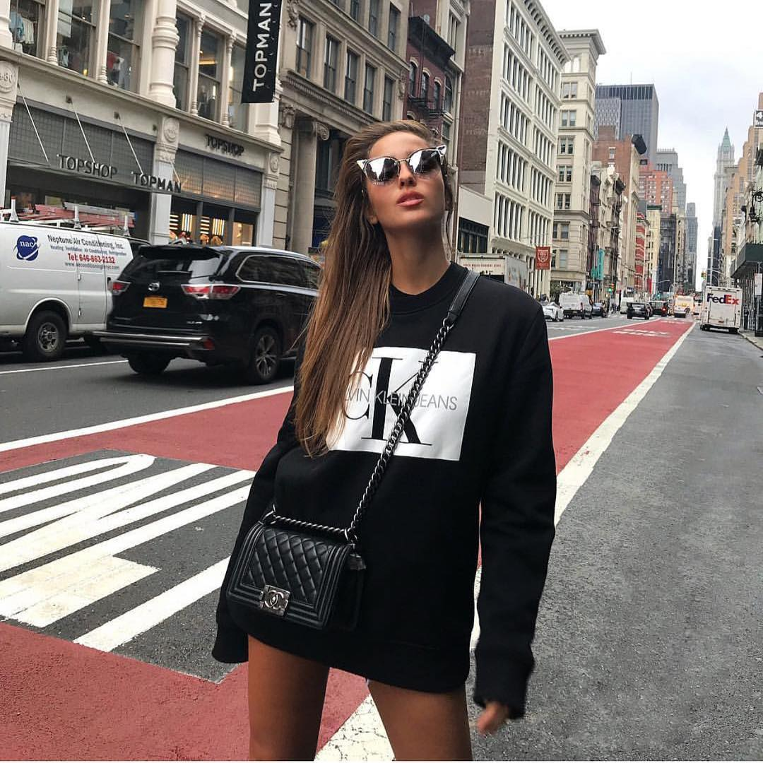 All Black Sweatshirt Dress And Quilted Boots For New York Street Walks 2019