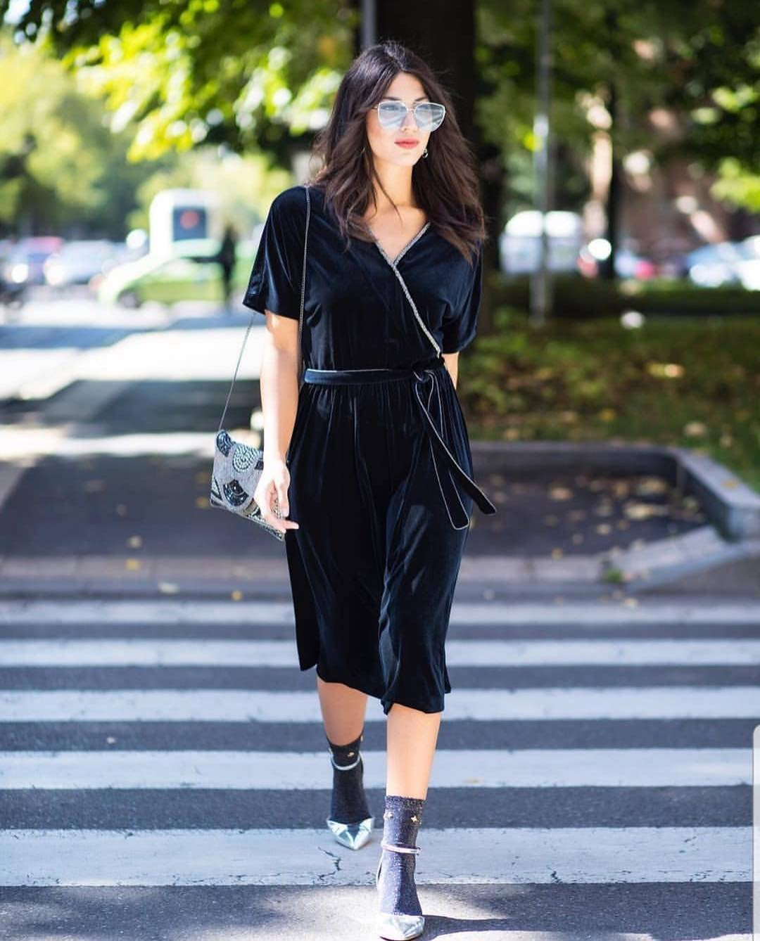 Black Velour Wrap Dress With Grey Socks And Silver Pumps 2019
