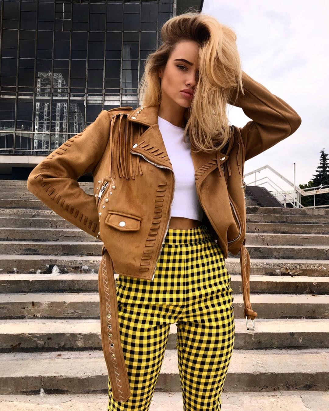 Light Brown Leather Crop Jacket And Gingham Print Pants For Spring 2019