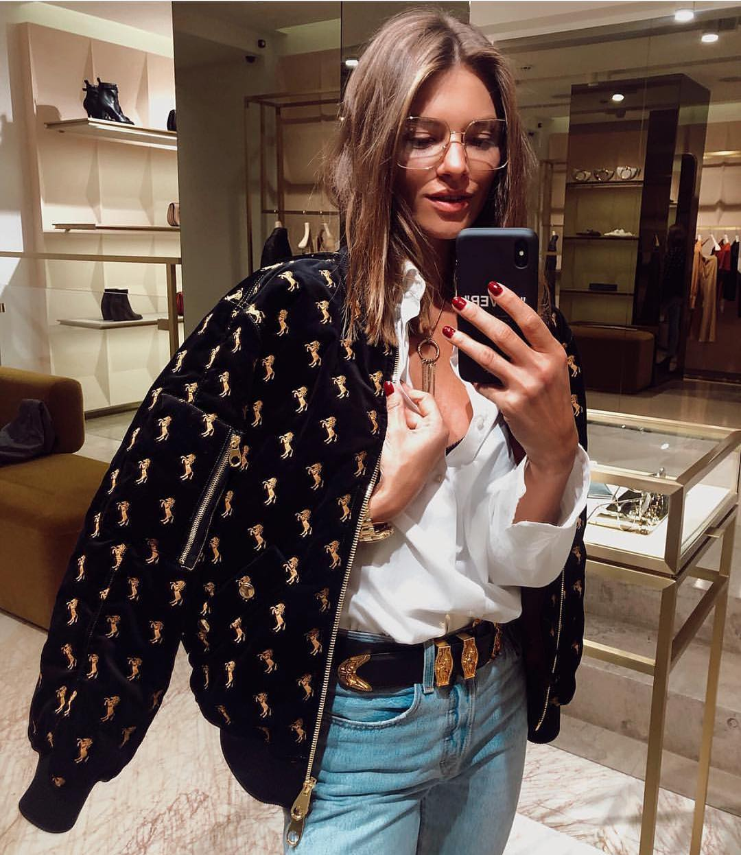 Velvet Bomber With Horse Embroidered Styled With White Top And Jeans 2019