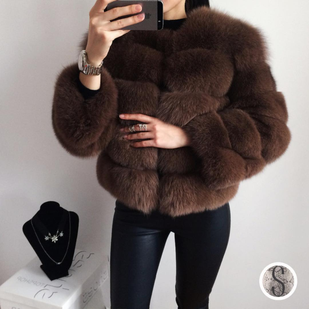 Fur Jacket In Brown With Black Leather Skinnies For Fall 2019