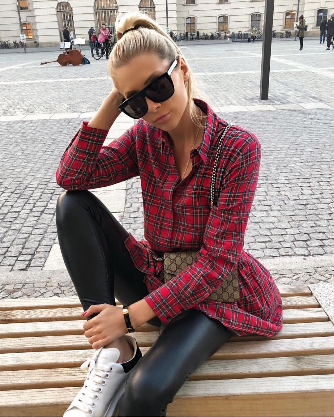 How To Wear Red Plaid Shirt With Black Leather Skinny Pants This Spring 2020
