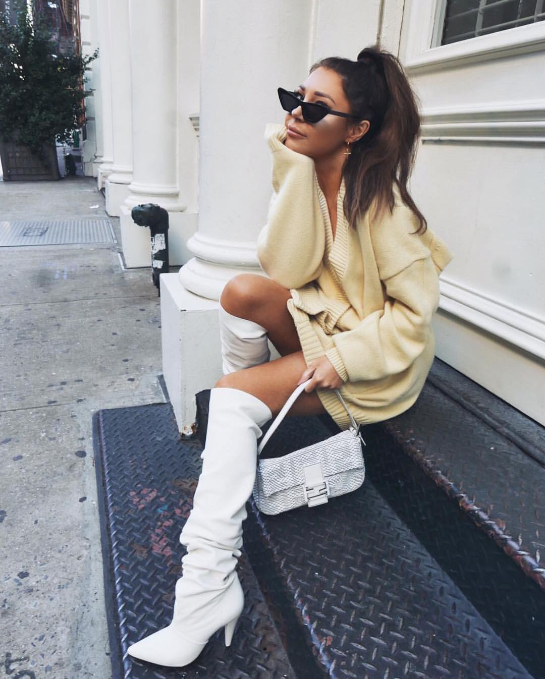 Pastel Yellow Sweater Dress And White Slouchy Boots For Fall 2019