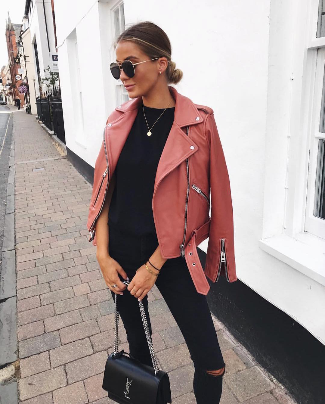 Pink Leather Jacket And All In Black Outfit Idea For Fall 2019