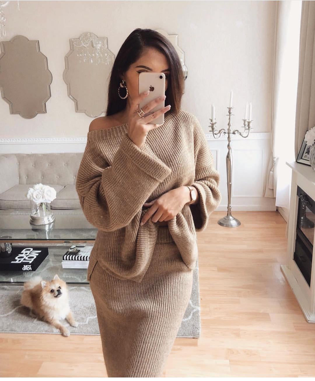 Two Piece Knitted Dress In Beige For Fall 2019