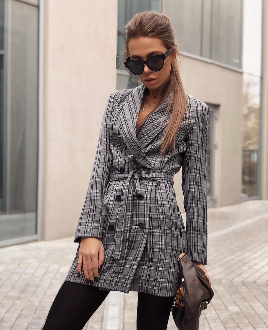 Grey Plaid Double-Breasted Coat And Black Tights For Fall 2019