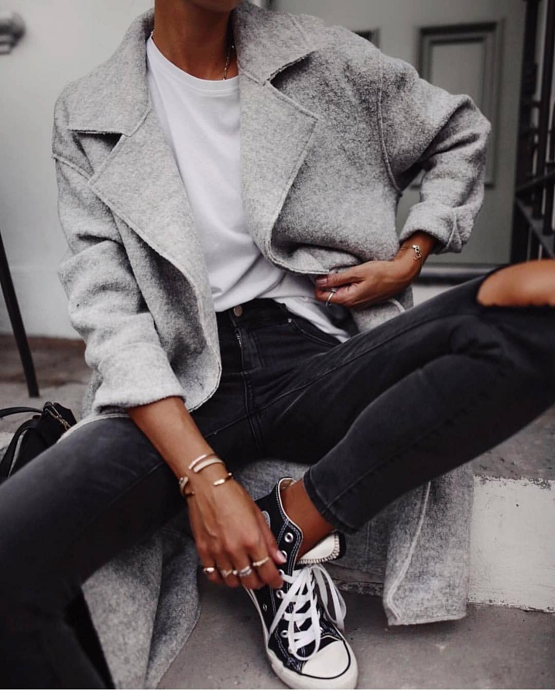 Grey Wool Coat And Knee Ripped Black Jeans For Fall Casual Fridays 2019