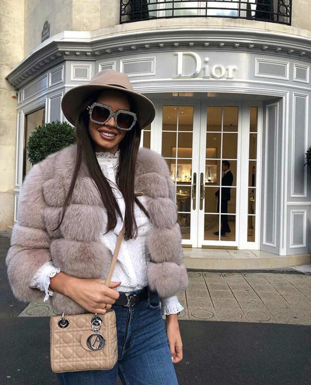 Fur Jacket, Oversized Shades, Fedora Hat And Denim For Street Chic Look 2019